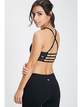 low-impact---faux-leather-cage-back-sports-bra by forever-21