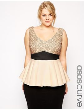 asos-curve-peplum-top-in-lace-and-scuba-mix by asos-curve