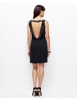 petite-beaded-open-back-dress by ann-taylor