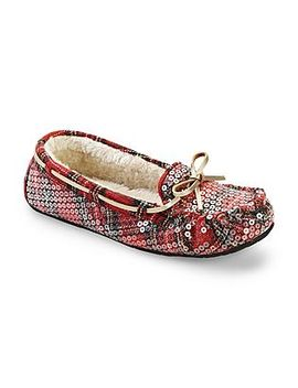 route-66-womens-milah-red_plaid_sequin-moccasin-slipper by kmart