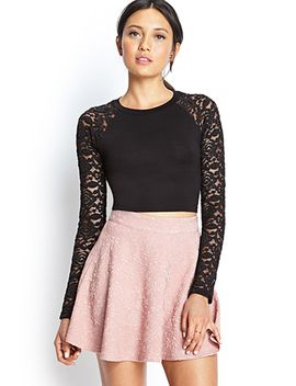 lace-sleeve-crop-top by forever-21