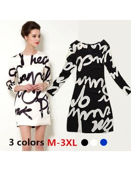 new-arrival-2015-spring-black-and-white-letter-women-winter-dress-woman-long-sleeve-print-plus-size-casual--high-street-dress by ali-express