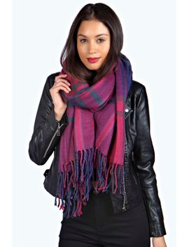 sophia-large-check-wrap-scarf by boohoo