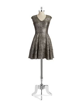 metallic-fit-and-flare-dress by design-lab-lord-&-taylor