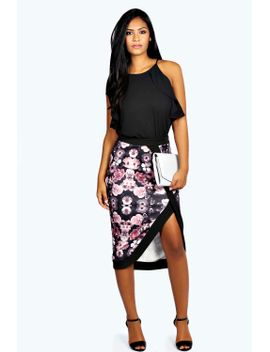 joan-floral-asymmetric-scuba-midi-pencil-skirt by boohoo