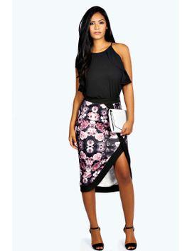joan-floral-asymmetric-scuba-midi-pencil-skirt by boohoo