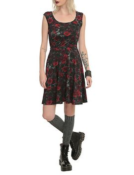 black-and-red-rose-dress by hot-topic