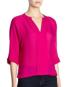 marru-silk-pintuck-blouse by joie