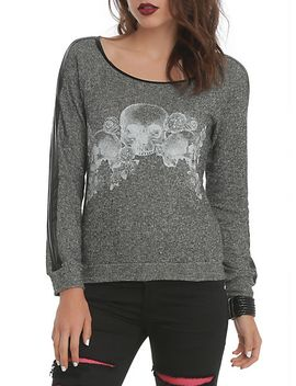 grey-skull-girls-pullover-top by hot-topic