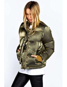 mila-metalic-shine-puffa-bomber-jacket by boohoo