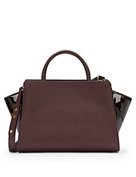 saffiano-leather-&-patent-leather-shoulder-bag by zac-zac-posen