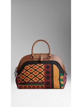 large-tapestry-and-leather-bowling-bag by burberry