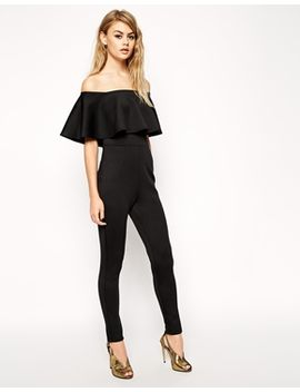 asos-scuba-jumpsuit-with-off-shoulder-ruffle by asos-collection