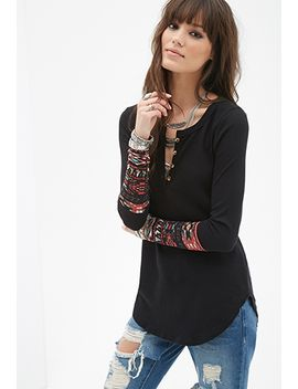 tribal-print-paneled-thermal-henley by forever-21