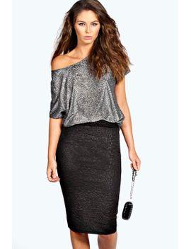 sian-3d-textured-midi-skirt by boohoo