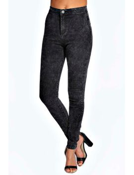 lara-super-skinny-acid-wash-tube-jeans by boohoo