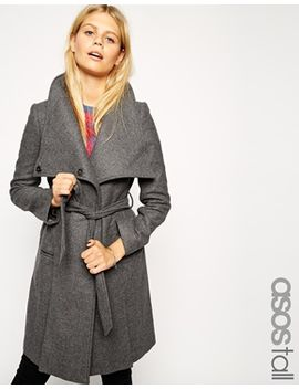 asos-tall-funnel-neck-coat by asos-tall