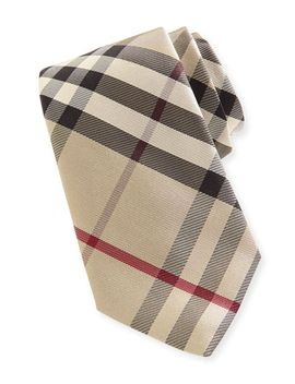 narrow-check-silk-tie,-new-classic by burberry