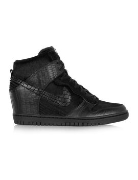 +-undercover-dunk-sky-hi-leather-and-faux-calf-hair-sneakers by nike