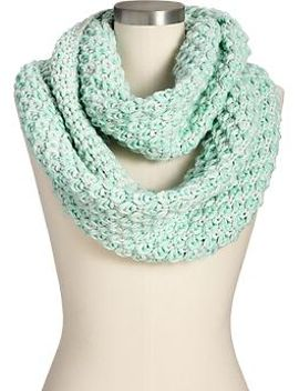 womens-chunky-knit-marled-infinity-scarves by old-navy