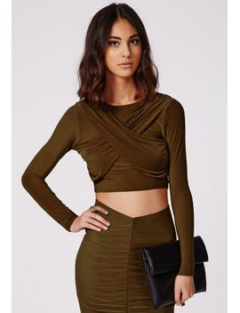 long-sleeve-slinky-wrap-crop-top-khaki by missguided