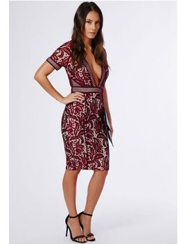 jess-mixed-lace-deep-v-midi-dress-burgundy by missguided