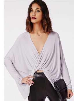 dakota-wrap-front-jersey-top-grey by missguided