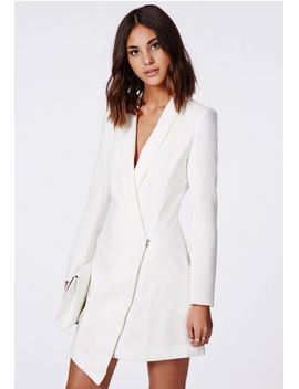 crepe-sleeveless-blazer-dress-white by missguided