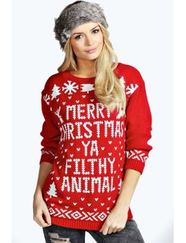eva-merry-christmas-ya-filthy-animal-jumper by boohoo
