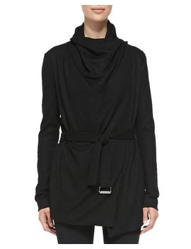 sonar-wool-drape-neck-trench,-black by helmut-lang