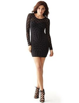 long-sleeve-v-back-dress by guess
