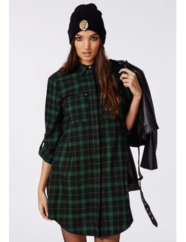 holly-oversized-longline-shirt-dress-green-check by missguided