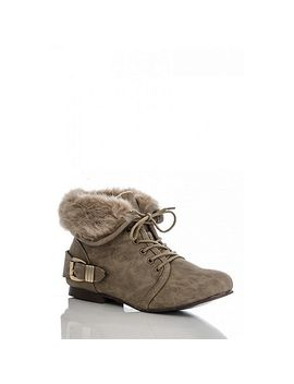 taupe-fur-collar-ankle-boots by quiz
