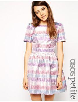asos-petite-exclusive-metallic-heart-jacquard-prom-dress by asos-petite