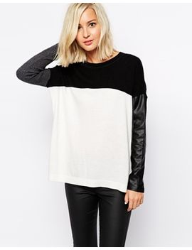 river-island-sweater-with-contrast-leather-look-sleeve by river-island