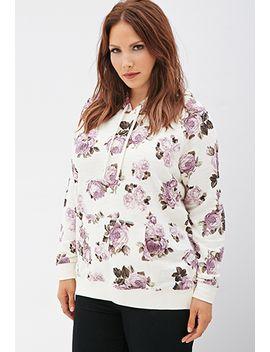 rose-print-drawstring-hoodie by forever-21