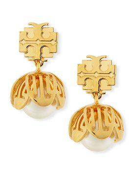 golden-cara-flower-drop-earrings by tory-burch