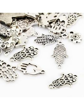 25-pcs-tibetan-style-pendants,-hamsa-hand,-antique-silver,-18~57x85~35x2~5mm,-hole:-2~4mm by diyjewelrydepot