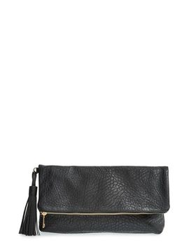 merino-faux-leather-foldover-clutch by topshop