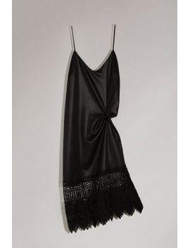 wet-look-lace-hem-slip-dress by topshop