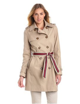 tommy-hilfiger-womens-double-breasted-trench-coat-with-striped-belt,-sand,-large by tommy-hilfiger