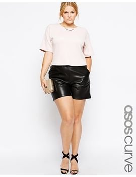 asos-curve-exclusive-shorts-in-leather-look by asos-curve