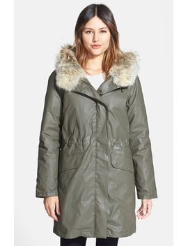 downtown-coated-cotton-parka-with-removable-genuine-rabbit-liner-&-genuine-coyote-fur-trim by sam