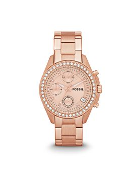decker-chronograph-rose-tone-stainless-steel-watch by fossil