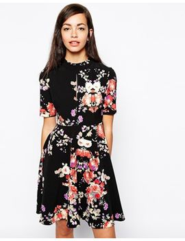 glamorous-high-neck-skater-dress-in-dark-floral by glamorous
