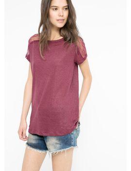 lace-appliqué-linen-t-shirt by mango