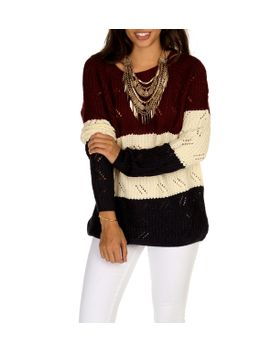 burgundy-color-block-sweater by windsor