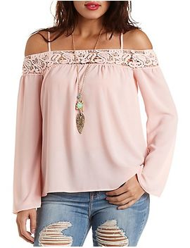 crochet-trim-cold-shoulder-top by charlotte-russe