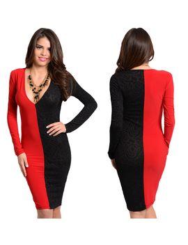 women-sexy-fashion-black-red-long-sleeve-clubwear-cocktail-stretch-party-dress by stanzino