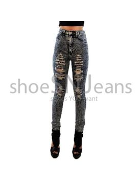 new-women-high-waist-ripped-destroyed-pant-acid-wash-jean-sexy-skinny-denim by hammer
